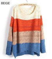 осень многоцветный ткань в полоску вырез волна без тары женская пуловер свитер женщины трикотаж бежевый / оранжевый