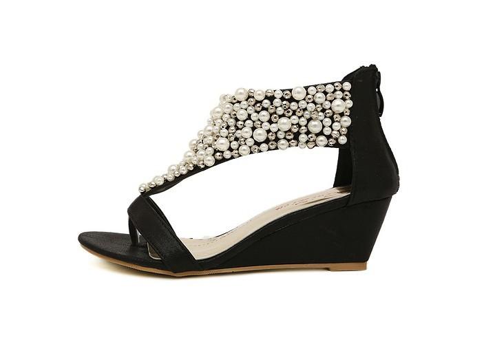 бесплатная доставка лето мода женская жемчужный серебряные сандалии плоские туфли с открытым носком женская клинья низком каблуке сандалии