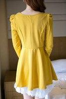 весна новый леди мода милые жемчуг бисером воротник с пуховкой рукавом оборками подол высокая талия с коротким платье принцессы М / Л