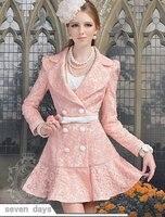 бесплатная доставка новинка розовая кукла зима вышивка модный двубортный плащ женская пальто cl103019pn