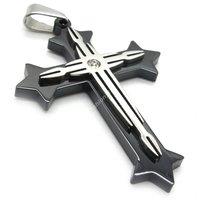 высокое качество мужские серебро черный крест из нержавеющей стали 316L стали ожерелье цепь ювелирные изделия