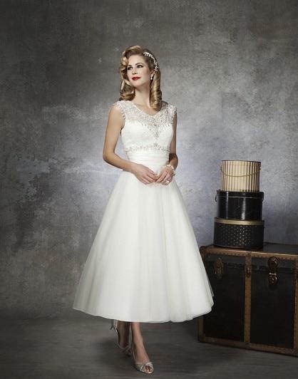 Tea Length Cap Sleeve Wedding Dresses