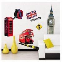 верхний модный лондонский телефон бут двойной палубе автобус англия флаг съёмный винил росписи искусство стена наклейка наклейка