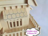 """готический - стиль 3 этажей 21 """" из дерева кукольный домик с 6 номеров и мебель мини-дом бесплатная доставка"""