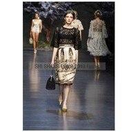бесплатная доставка взлетно-посадочной полосы половина с кружевными рукавами блузка + винтаж печатных юбка юбка костюм y0607