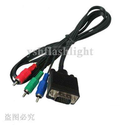 freeshipping!1pcs/lot 15 Pin VGA/HD15 to RGB 3 RCA Component TV/HDTV ...