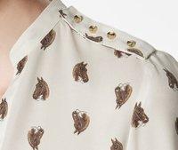 ST80 Салют женщин «лошадь печатающих головок шифон блузка заклепки плечо элегантные свободного покроя рубашки карманы тонкий дизайн бренда