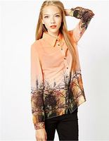 винтаж стиль passage печать блузка рубашка бесплатная доставка