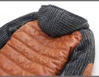 большой размер одежды сращивания зима новых людей с капюшоном пуховик искусственная кожа хлопчатобумажная ткань мужская мода хлопка-ватник djm003