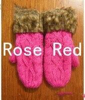 г-жа зима самый милый хвоствик вязаные варежки толстые теплые мех мода холтер шерстяные перчатки бесплатная доставка