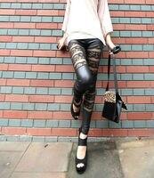 оптовая продажа + бесплатная доставка! новый! женщины леди Seal пряжа кружево splicing обвинение кожа леггинсы брюки черный