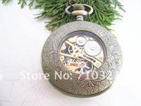 бесплатная доставка 45 мм х 45 мм бронзовый цвет римские цифры механические карманные часы подвески