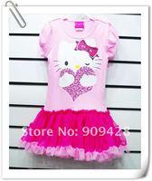 новинка летний ребенок дети платья платье для девочки привет котенок дети одежда 6 комп./лот бесплатная доставка
