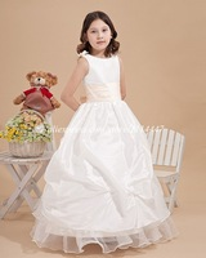самое новое самое лучшее продавая бесплатная доставка на заказ a-линия упругие тканые атласная белый цветочница платье с цветком #fd11