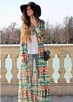 платье пляж шифон длинный рукав, женщин винтажный богема с с V-образным вырезом бохо печать пуговица вверх кардиган длинная макси