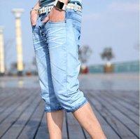 горячая распродажа бесплатная доставка южной кореи шорты для мужчин в косой кнопки дизайн джинсы шорты / кадрированные брюки синий 28 - 34