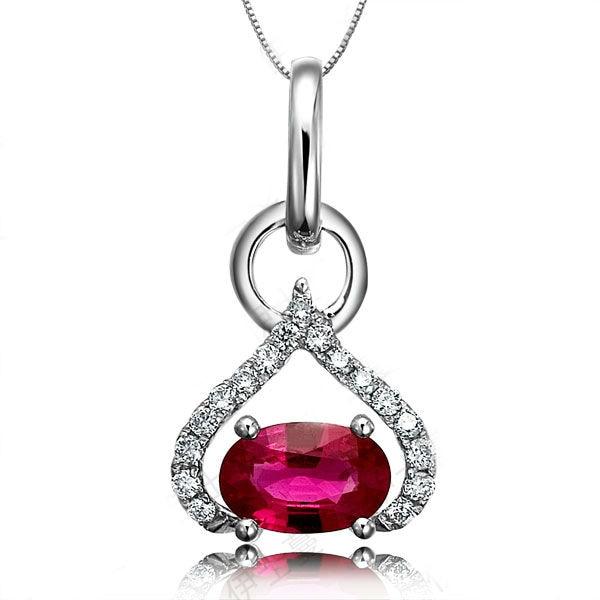 Gvbori18k white gold ruby gemstone diamond necklace pendant925 gvbori18k white gold ruby gemstone diamond necklace pendant925 sterling silver chain diamond pendant fine jewelry valentine in pendants from jewelry aloadofball Choice Image