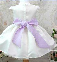 принцесса девочка платье / белый девочка платье с блестящими компактный жемчуг / cart рукава девочка платье с фиолетовый ремень долг