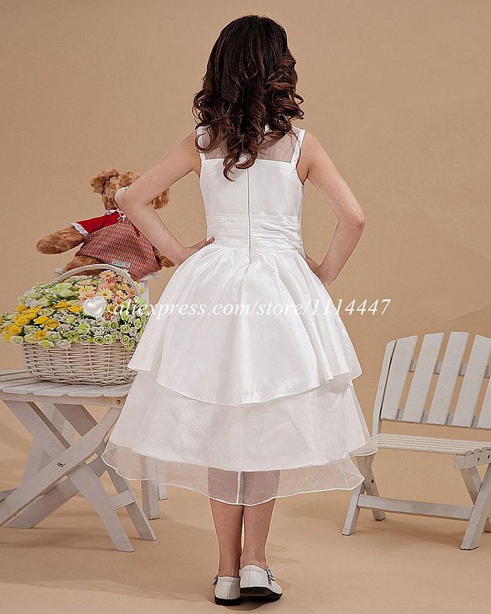 новые бестселлеры бесплатная доставка на заказ 650-линия шея белые платье для девочки с цветок # fd8