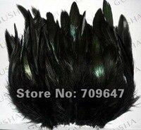 бесплатная доставка! 200 шт./лот 6-10 см черный цвет решеткой седло довольно путь пера черные пера