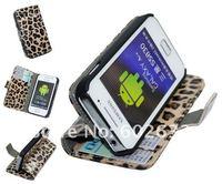 1 шт. бесплатная доставка bum кожа с Leopard печати чехол для samsung Галактика туз S5830, чтобы использовать с пост + 1 шт. экран защиты