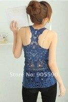 корейский женщины в контейнер верхний рубашка полые - жилет жилет бретели пирсинг кружево 3110