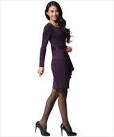 весна и осень новый женская пр пригородных тонкая талия был тонкий большой ярдов мода с платье с длинным рукавом