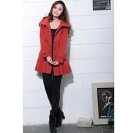 бесплатная доставка корейский мода досуг леди шерстяные ткани одежды личности воротник держать в тепле девушкой пальто