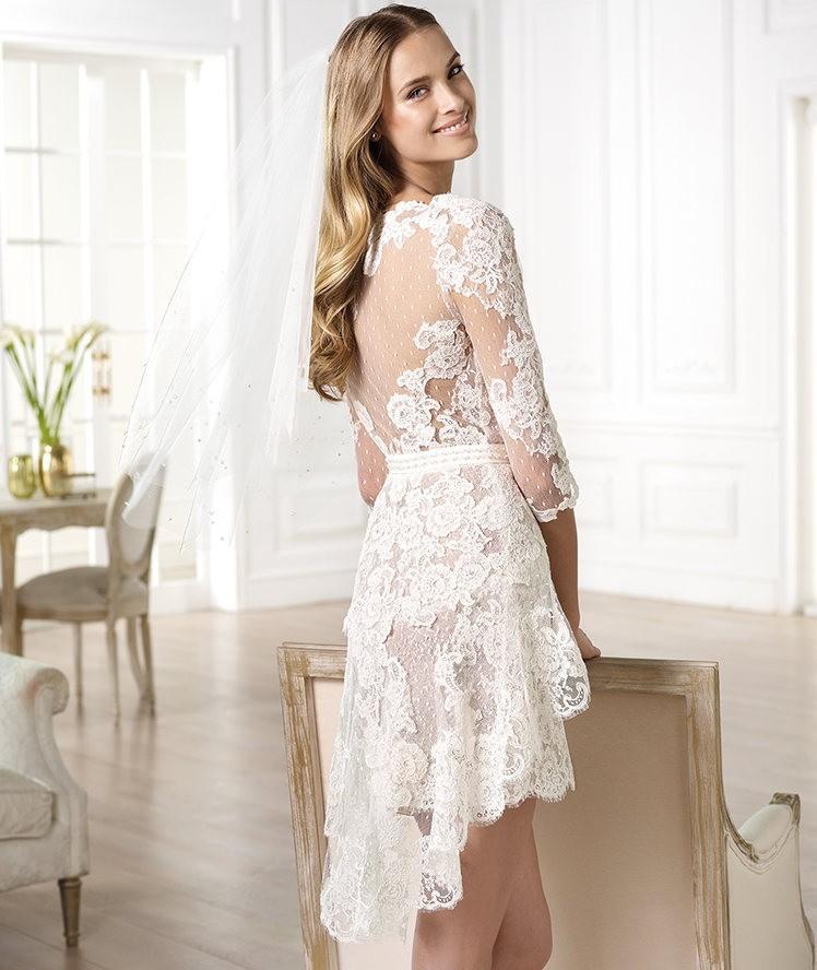 новый 2015 Эли Сааб принцесса кружева короткие свадебные платья / свадебное платье платья vestido де нойва невесты сексуальный короткое платье бесплатная доставка