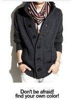 Зимняя мода молодежи популярны стоять воротник вязать свитер большие кнопки Корейский Кардиган свитера w788