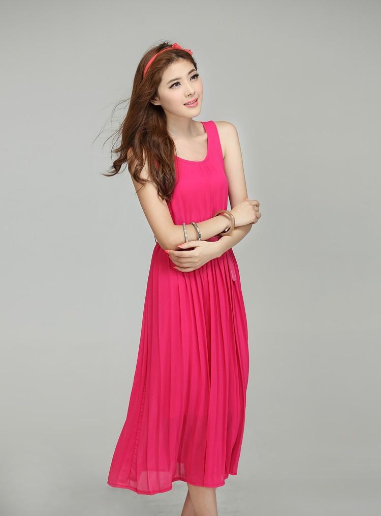 весна женщин летние платья без рукавов мило макси платья шифон пляжное платье черный большой размер платья бесплатная ремень, колье