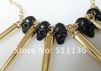 новое поступление мода золото череп и спайк пандент ожерелье punkjewelry КК-ml010 бесплатная доставка оптовая продажа / розничной торговли
