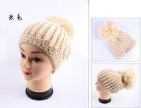 бесплатная доставка новых женщин шапки skullies в и новых зимой игры мило шерстяная шляпа подвеска-шар кепки кнопки кепка сладкий