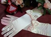 h0022 палец с бантом атласа свадебные перчатки