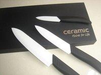 3 шт. белый шлифования керамические кухонный нож комплект черный прикладом ручка # s003