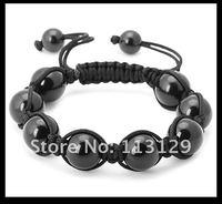 хип-хоп мужские браслет ювелирные изделия ручной работы черный сканирования бассейна и регулируемый прядь браслет оптовая продажа и розничная