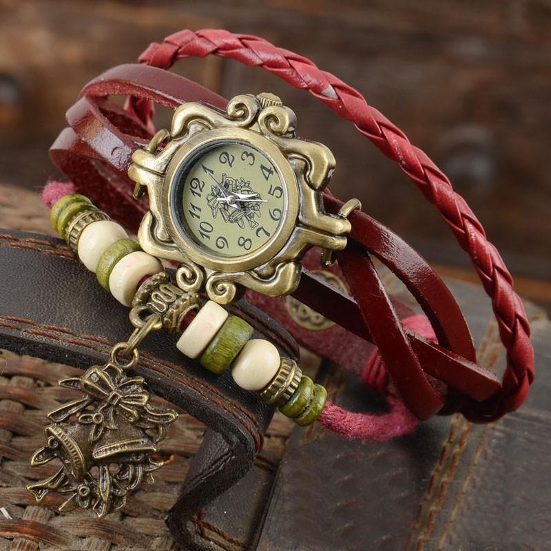 новые поступления 7 цветов оригинал высокое качество женщин из натуральной кожи старинные часы, браслет наручные часы рождественский колокольчик кулон