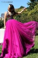 новинка драгоценными украшенные с V-образным вырезом кристалл вечерние платья бальное платье быстрая доставка платье для выпускного бала n043