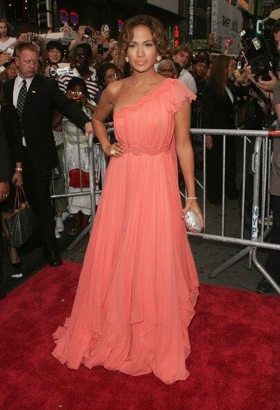 Jennifer Lopez soirée robe Red Carpet Premiere une épaule Coral mousseline de soie longue de bal formelle robe