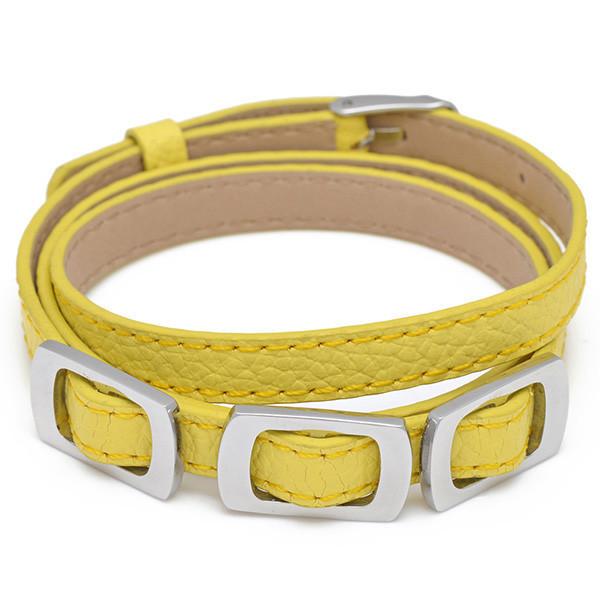 минимальный заказ 10 $ бижутерия женщин ювелирные изделия упаковка желтые кожаные браслеты из нержавеющей стали пряжка дешевые оптовая продажа 07708