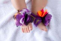 бесплатная доставка, новый, детская обувь цветок ноги босиком сандалии девушки рождественский подарок, ноги цветок, ходунки хлопок, 50 пар/лот # 02