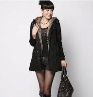 бесплатная доставка высокое качество найдите внутри леди теплое пальто черный sw11091903