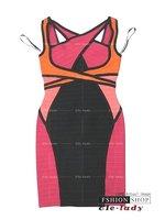 бесплатная доставка высокое качество эластичный бинт с V-образным вырезом повседневная одежда оболочка мини выше колена знаменитости / коктейльное платье