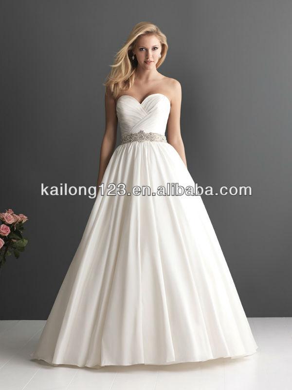 Phenomenal Sweetheart Ruched Bodice Beaded Crystal Waist Ball Gown Chapel  Train Taffeta Alibaba Wedding Dress 860f41ac42d8