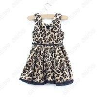 осень леопард девочки платье с ремень дети размер 3 4 5 6 7 8ale хорошая качество 6 шт. / много