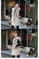 черный черно-абрикос-новому женщин прохладный искусственного меха кролика с капюшоном с теплый жилет куртка СМЛ a1752