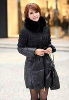 зима мода тонкий сладкий сверхбольших лисицы утка вниз женский лиса меховой воротник зимний пуховик бесплатная доставка