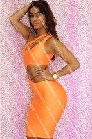 новинка печать женщин ну поливать повязку вечернее платье ночной клуб платья без рукавов oranges платье