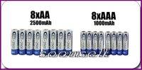 soonsell-большой-8 + 8 1.2 в сваи а . а . 2500 мА ААА 1000 мА никель-металлогидридных никель металлогидридные аккумулятор батарея перезарядки betteries + бесплатная доставка