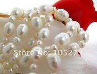 33'inchs а . а . 4 мм - 12 мм круглый белый рис пресной воды жемчужное ожерелье мода женские украшения оптовая продажа новый бесплатная доставка fn1236